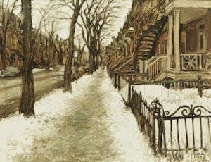 Artwork by John Geoffrey Caruthers Little, Les arbres de Rue Berri, Montreal