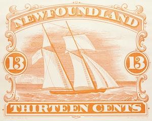 Artwork by Christopher Pratt, 1887 Orange 13 Cent Stamp
