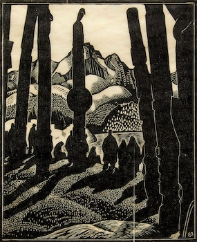 Artwork by Edwin Headley Holgate, Totem Poles, No. 4 (Departing People)