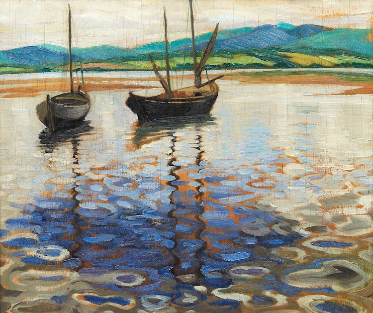 Artwork by Doris Jean McCarthy,  Two Boats at Barachois