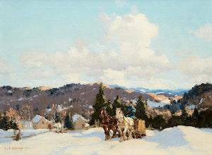 Artwork by Frederick Simpson Coburn, Hauling Logs, Winter