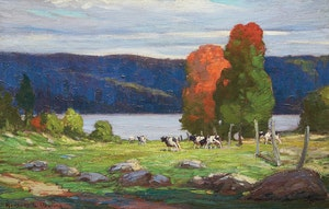 Artwork by Herbert Sidney Palmer, Untitled (Cattle By The River)