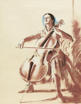 Artwork by Fred Ross, The Cello Player