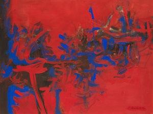 Artwork by Jack Leonard Shadbolt, Blue Theme on Red