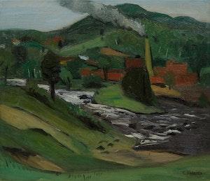 Artwork by William Goodridge Roberts, Factory and Rapids