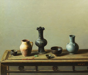 Artwork by Liu  Gao Feng, Still Life on Chinese Table
