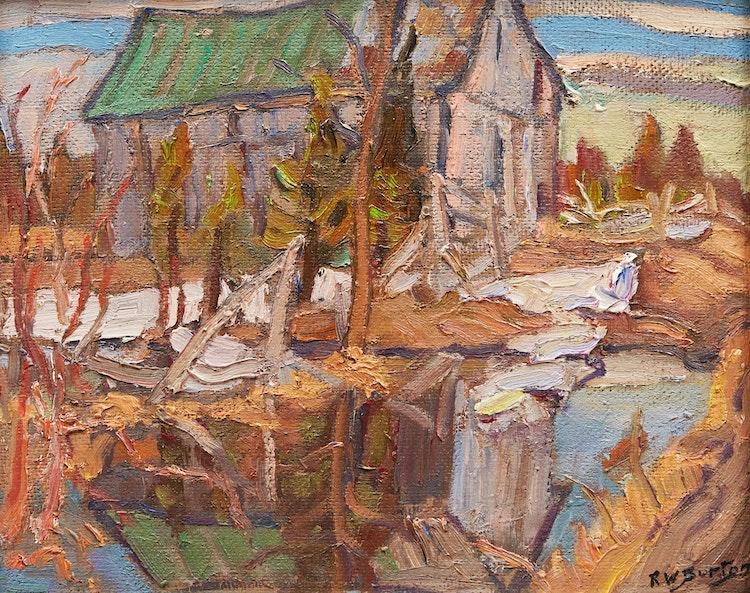 Artwork by Ralph Wallace Burton,  Old Barn, Lanark County, Ont.