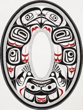 Artwork by Vin Rickard, Eagle, Charles Edenshaw Haida Argilite Plate 1880