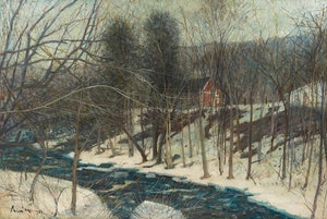 Artwork by Joseph Giunta, Winter Landscape with House