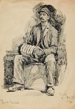 Artwork by Charles William Jefferys, Blind Musician