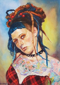 Artwork by Neville Clarke, Colourful Braids and Tattoos