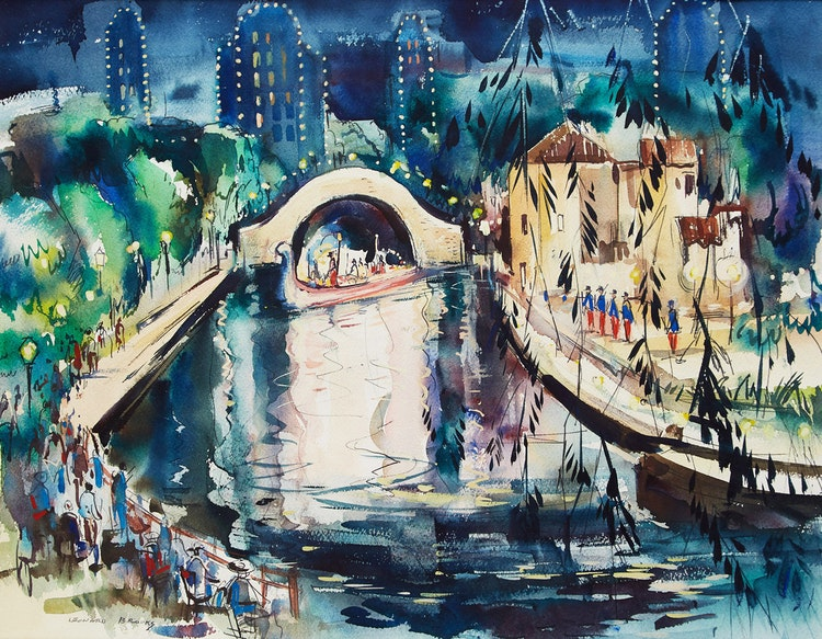 Artwork by Frank Leonard Brooks,  Evening on the Canal