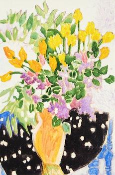 Artwork by Claude A. Simard, Tulipes et lilacs