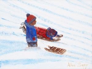 Artwork by Allen Sapp, Two Boys Sledding
