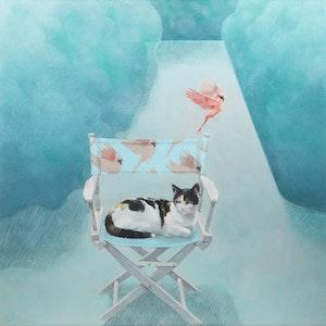 Artwork by Sally Wildman, An Old Cat Dreams