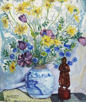 Artwork by Frances Anne Johnston, Flowers in Chinese Bowl with Chinese Figure