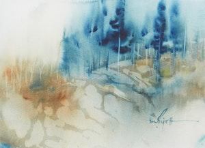 Artwork by Marjorie Pigott, Rocks and Pines