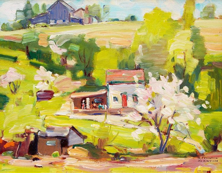 Artwork by Bernice Fenwick Martin,  Summer Landscape with House