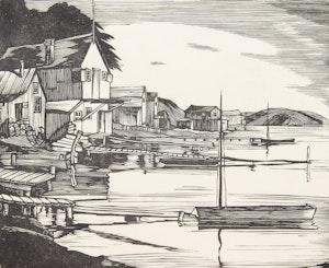 Artwork by Leonard Hutchinson, Fishing Village