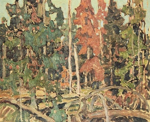 Artwork by Franklin Carmichael, The Dead Spruce; Bolton, Ontario; Evening;  La Cloche No. 1; July Afternoon; Summer Day, Orillia