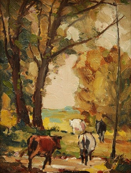 Artwork by George Henry Griffin, Cows Going to Pasture