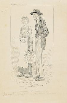 Artwork by Charles William Jefferys, Tell him Sis' paw & maw was askin' for him