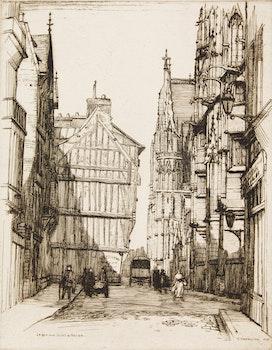 Artwork by Caroline Helena Armington, La Rue aux Juifs a Rouen; L'Ecole de Driot a' Paris; La Rue Saint Yves a Chartres; Port et Logis du Roi, Mont Saint-Michel