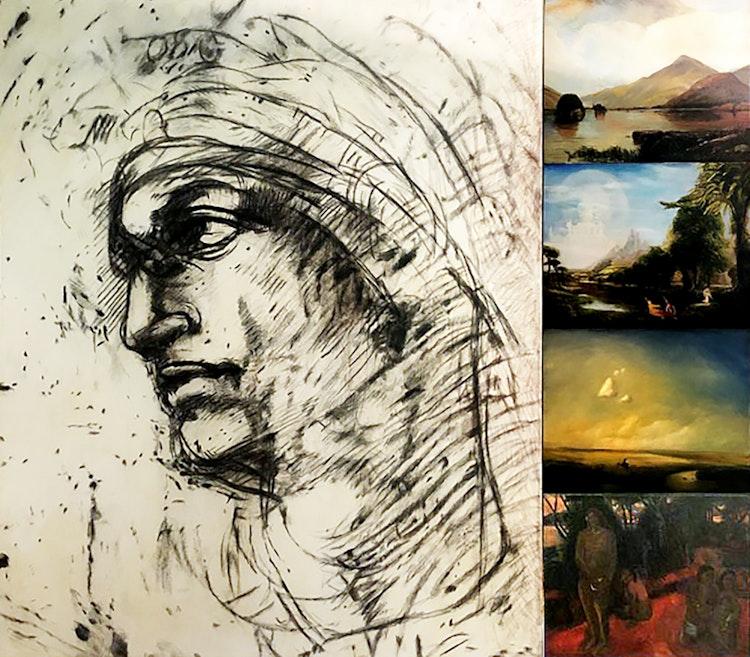 Artwork by David Bierk,  Paradise Lost II, to Michelangelo, Kensett, Cole, Sarasov and Gauguin