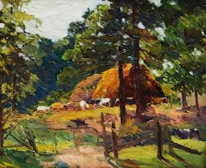 Artwork by Elizabeth Annie McGillivray Knowles, Cattle Feeding