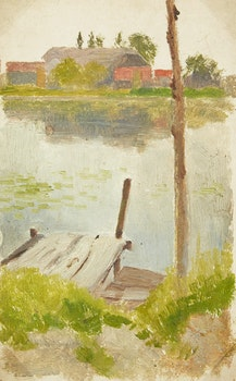Artwork by Frederic Marlett Bell-Smith, Dock on a Pond