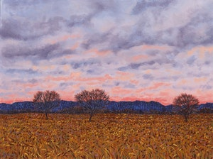 Artwork by Philip Sybal, Guelph Apple Trees at Sunset