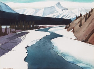 Artwork by Alan Caswell Collier, North Saskatchewan River at the Crossing