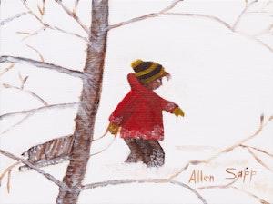 Artwork by Allen Sapp, Boy with Sled