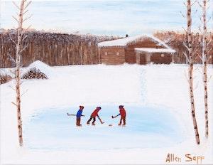 Artwork by Allen Sapp, The Hockey Game
