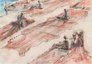 Artwork by William Abernethy Ogilvie, Red Nets, Sicily