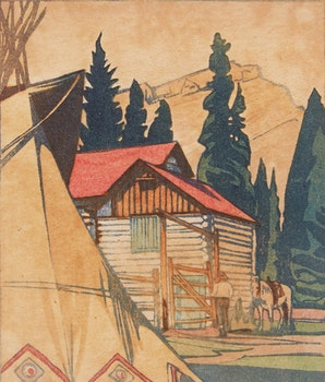 Artwork by Walter Joseph Phillips, Corral at Banff