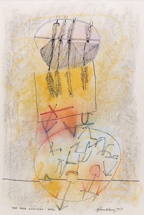 """Artwork by Gérard Tremblay,  """"Une Page d'histoire"""" de R.G"""