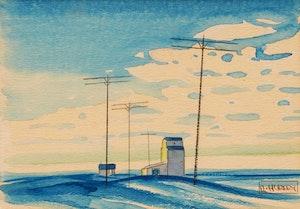 Artwork by Robert N. Hurley, Grain Elevator; Landscape with Telephone Poles