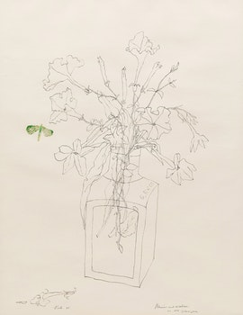 Artwork by Florence Vale, Petunias and Nicotine in Old Glass Jar
