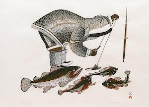 Artwork by Kananginak Pootoogook, Winter Fishing
