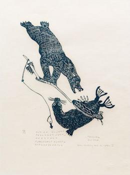 Artwork by Tivi Etook, Bear Hunting Seal in Water II