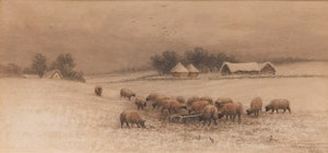 Artwork by Frederick Arthur Verner, Sheep Grazing in a Winter Field