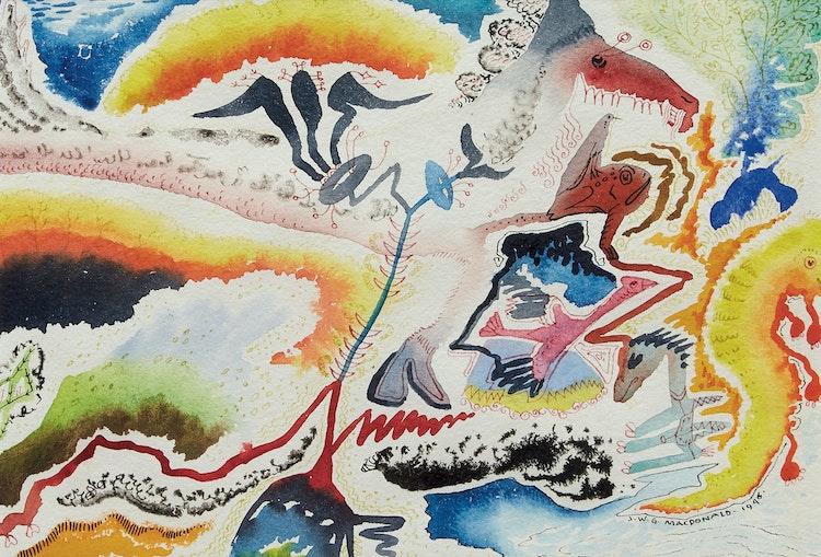 Artwork by James Williamson Galloway Macdonald,  Prehistoric World
