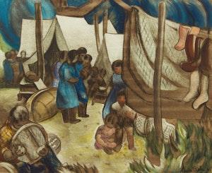 Artwork by André Charles Biéler, Montagnais Encampment