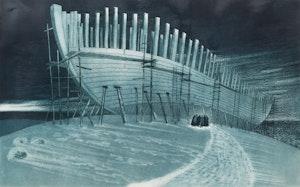 Artwork by David Lloyd Blackwood, The Prince Andrew Under Construction