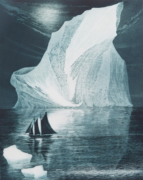 Artwork by David Lloyd Blackwood,  The Flora S. Nickerson Down on the Labrador
