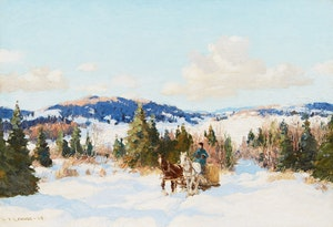 Artwork by Frederick Simpson Coburn, Logging Team Heading Home
