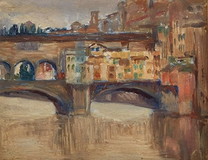 Artwork by Mary Evelyn Wrinch, Ponte Vecchio, Florence