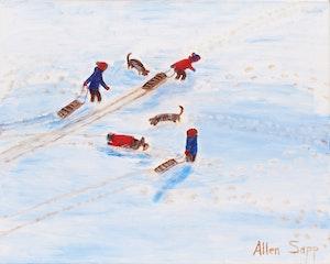 Artwork by Allen Sapp, Sledding