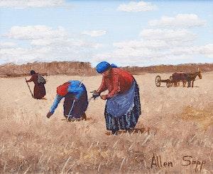 Artwork by Allen Sapp, Picking Seneca